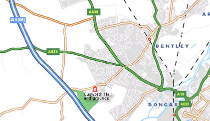 Map to Cusworth Hall